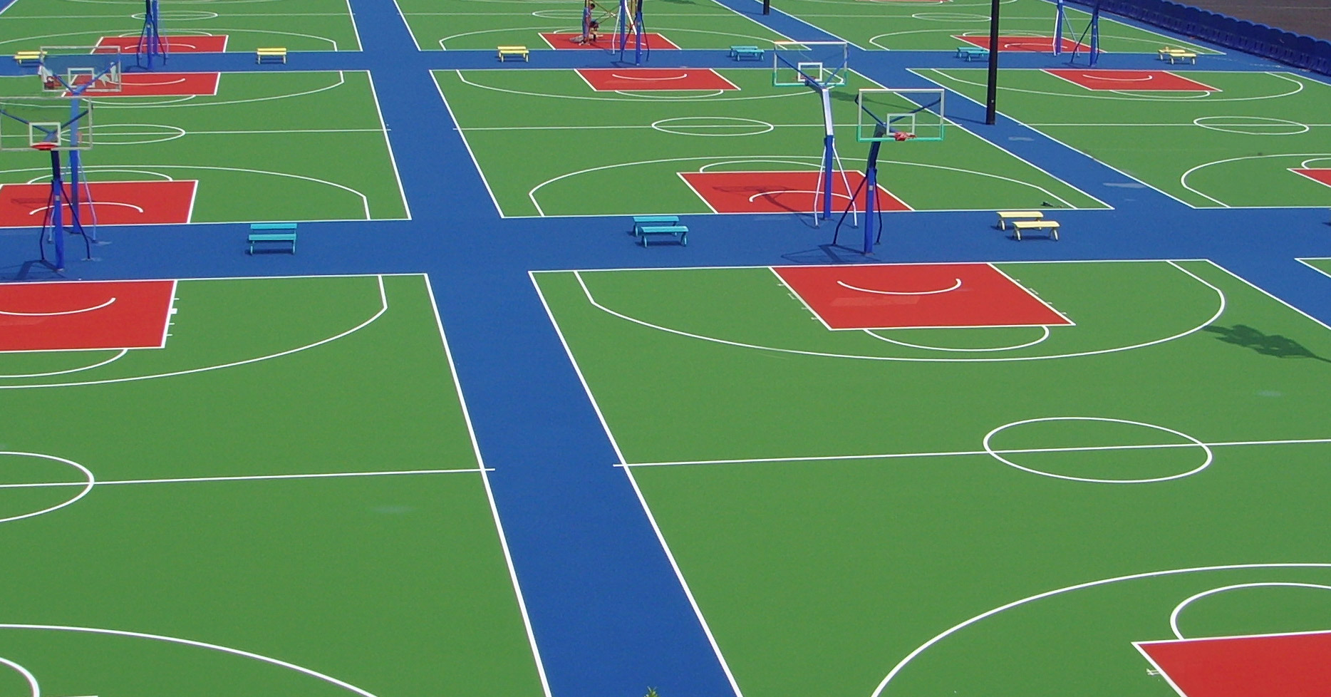 Basketball court surfaces california sports surfaces for Sport court paint