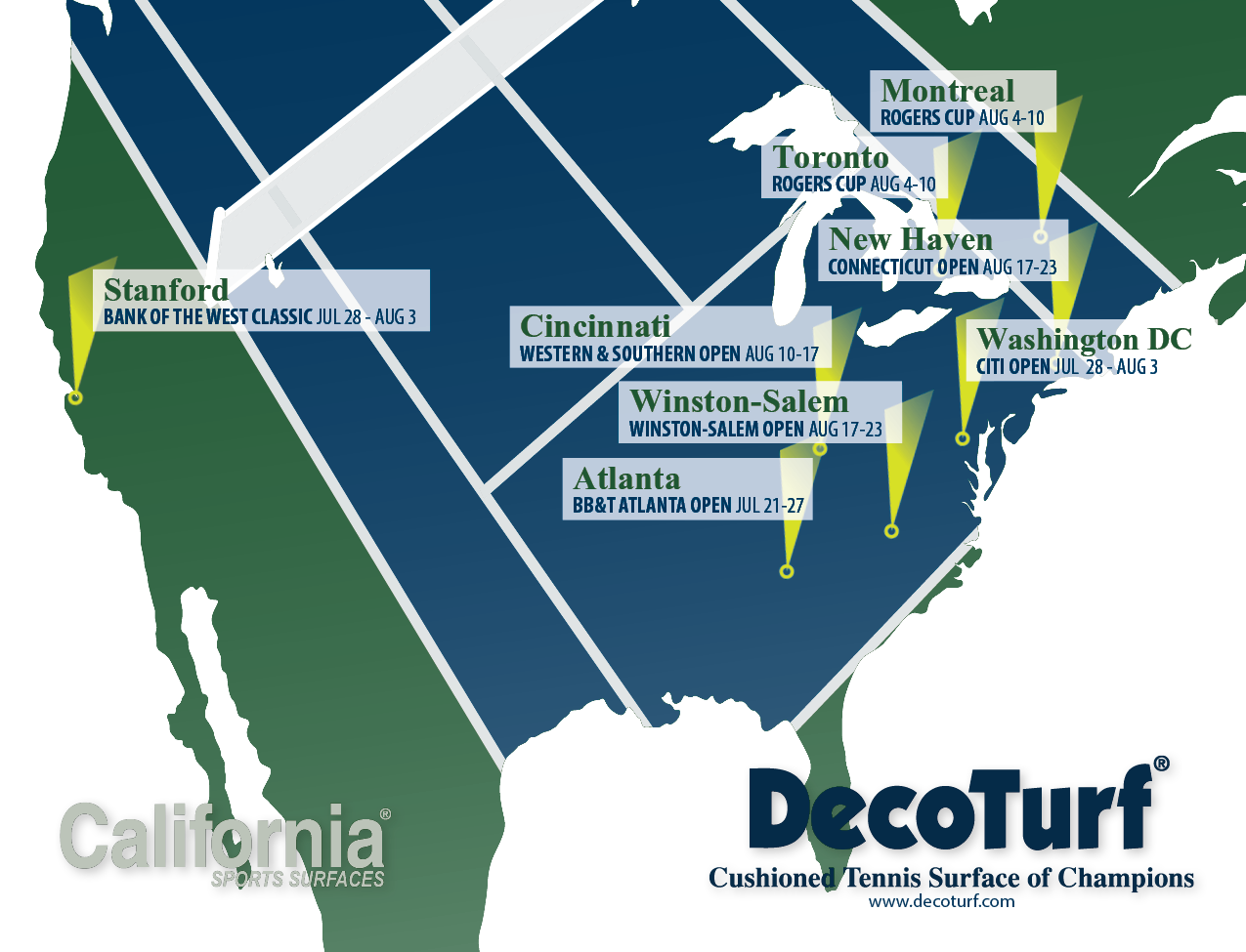 The Emirates Airline US Open Series California Sports Surfaces - Us Open Tennis Map